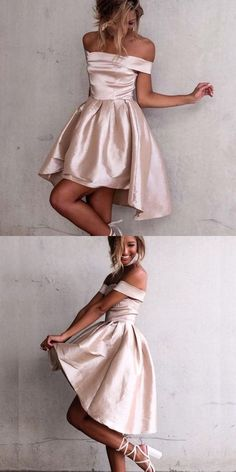 2018 short homecoming dress prom dress, off the shoulder party dress, champagne short homecoming dress PD20185960