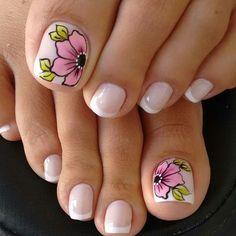 Ideas for manicure pedicure spring toenails French Pedicure, Pedicure Nail Art, Pedicure Designs, French Tip Nails, Toe Nail Designs, Toe Nail Art, Toe Nails, Pedicure Ideas, Spring Nail Art