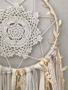 Dream Catcher Wall Hanging Ivory Dream Catcher Boho Dream # unique crochet projects to sell Ivory Dream Catcher Wall Hanging - Boho Dreamcatcher - Gifts for the Home - Boho Gifts for Her - Nursery Wall Hanging - Boho Nursery Decor Doily Dream Catchers, Dream Catcher Craft, Dream Catcher Boho, Handmade Dream Catcher, Making Dream Catchers, Mandala Au Crochet, Crochet Doilies, Doilies Crafts, Boho Nursery