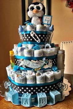 My penguin diaper cake!
