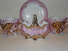 Exquisite Pink and Gold Grape Lusterware - 2 cups 1 saucer and a vase to match