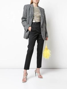 The Attico Oversized Blazer - Farfetch Denim Fashion, Womens Fashion, Oversized Blazer, Denim Trends, Best Jeans, Herringbone Pattern, Black Blazers, Wool Blend, Women Wear
