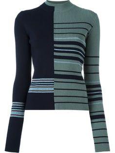 Вязать свитер с контрастными полосками