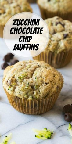 Zucchini Chocolate Chip Muffins recipe from RecipeGirl.com #zucchini #chocolate #chip #chocolatechip #muffin #muffins #recipe #RecipeGirl Cake Recipes, Dessert Recipes, Brunch Recipes, Summer Recipes, Bread Recipes, Breakfast Recipes, Desserts, Zucchini Muffin Recipes, Zucchini Bread