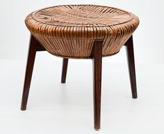 Władysław Wołkowski, woven wicker stool, 1950s, Midcentury Modern furniture from Poland. Collections of the Museum of the Work of Władysław Wołkowski in Olkusz.