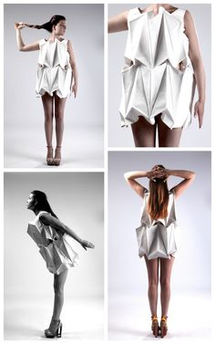 Origami Fashion - geometric dress with folded facets; architectural fashion design; sculptural fashion // Rosa Kramer