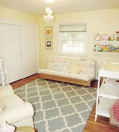Nursery - pale yellow blue gray and white grey chevron nursery, pale yellow walls, Grey Chevron Nursery, Yellow Nursery, Pale Yellow Walls, Blue Walls, Cost Of Carpet, Types Of Carpet, Bedroom Carpet, Wall Carpet, Shag Carpet