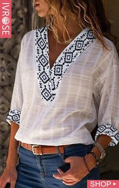 Plus size v neck geometric tribal casual chic blouses Boho Bluse, Linen Tshirts, Denim Shirts, Ethnic Print, Summer Tshirts, Fall Shirts, Shirts & Tops, Shirt Blouses, Blouse Styles