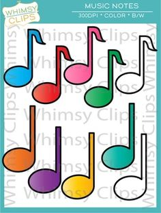 The music note clip art set contains 8 color images and 2 black & white images in png. All images are 300dpi for better scaling and printing.  Terms of Use:  You can use the clip art in educational commercial products. All images must be secured in a pdf file if you're using the images in products you sell (distribute).
