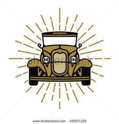 One thin line, flat vintage retro car logo with rays. Vector illustration