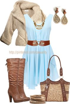 """""""Country Chic Sweater & Knee Boots"""" by casuality on Polyvore"""