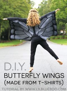 How to make butterfly wings for kids costume using 2 large t-shirts #halloween #butterfly #MichaelsMakers @LilBlueBoo