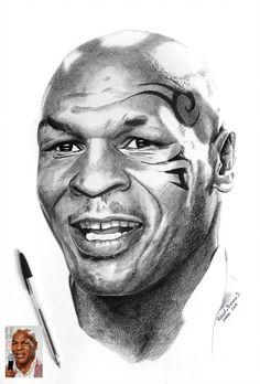 Art by Roberto Bizama Mike Tyson Portrait Sketches, Pencil Portrait, Portrait Art, Portraits, Trill Art, Ballpoint Pen Art, Black Art Pictures, Drawing Exercises, Old Movie Stars