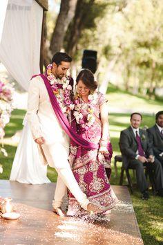 Fusion outdoor Hindu wedding ceremony via IndianWeddingSite.com