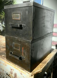 Vintage industrial military file boxes