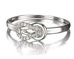 Knot Promise Ring In White Gold