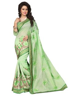 Green Chanderi Silk Saree With Blouse 70724