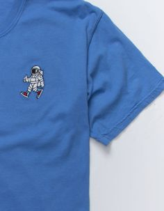 Riot Society Spaceman Kicks Embroidered T-Shirt. Cotton tee features embroidered spaceman graphic at front left. Shirt Embroidery, Custom Embroidery, Embroidery Patterns, Shirt Designs, Sweatshirts, Mens Tops, T Shirt, Bag Design, Butterfly Art