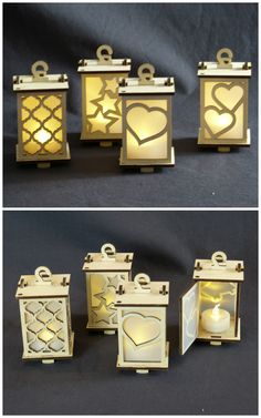 Tiny Lanterns, #lasercut birch ply, LED tea light