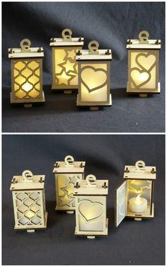 Tiny Lanterns, #lasercut birch ply, LED tea light