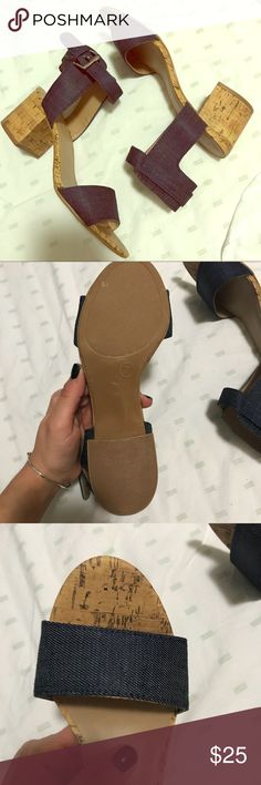 NWOT Heels Never worn, perfect Condition! Denim and cork, size 7, from Target. No box. Purchased these to go with an outfit for pictures but never wore. Only selling on Posh. No Trades. Price is Firm. Merona Shoes Sandals