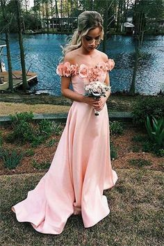 Pink Sweetheart Off The Shoulder Flowers Long Prom Dress