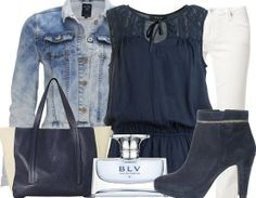 Denim with wite and blue! - Casual Outfits - stylefruits.nl