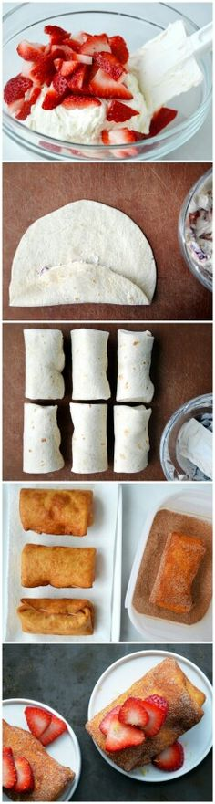 1 (8-oz.) package cream cheese, at room temperature 1/4 cup sour cream 1 Tablespoon plus 1/4 cup sugar, divided 1 teaspoon vanilla extract 1/2 teaspoon fresh lemon zest 6 (8-inch) soft flour tortillas 1 3/4 cups sliced strawberries, divided 1 Tablespoon cinnamon Vegetable oil, for frying.