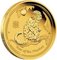 AUSTRALIA 2016  25 $ Dollar - Lunar Series II - Year of the Monkey - 1/4 Oz. Gold Proof Coin - Mintage 5,000 Coins. AUSTRALIEN 2016  25 $ Dollar - Lunar II - Jahr des Affen - 1/4 Oz. Gold in Polierter Platte - Auflage 5.000 Exemplare