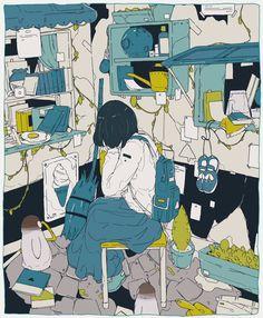 The Art Of Animation, daisukerichard -. Art And Illustration, Illustrations And Posters, Kunst Inspo, Art Inspo, Psychedelic Art, Anime Kunst, Anime Art, Pretty Art, Cute Art