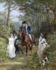 Heywood Hardy - The Meeting in the Forest, 1903 Art Print. Explore our collection of Heywood Hardy fine art prints, giclees, posters and hand crafted canvas products Victorian Paintings, Victorian Art, Victorian Ladies, Art Ancien, Poster Prints, Art Prints, Painting People, Illustration, Sketch Painting
