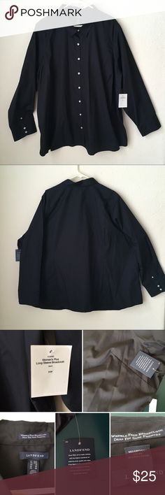 NWT Wrinkle Free Broadcloth career Shirt L/S G NWT Lands End women Plus SZ 34W 5-6X? Wrinkle Free Broadcloth career Shirt L/S. Poshmark sizing ends at 32w. But this shirt size tag is 34W. I just wanted to list under plus SZ. So I'm using 5x but please do check measurements in photos. Lands' End Tops Button Down Shirts
