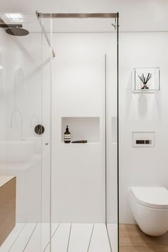 Australian Contemporary Bathroom with Modern Design Ideas : Australian Contemporary Bathroom Design Ideas With White Toilet And Glass Shower. Attic Bathroom, Bathroom Toilets, Laundry In Bathroom, Small Bathroom, White Bathroom, Bathroom Ideas, Wood Bathroom, Bathroom Renovations, Bathroom Shelves