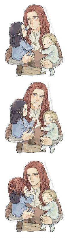 Маэдрос с маленькими Фингоном и Финродом     Maedhros, Fingon, Finrod
