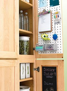 Pegboard and chalk paint inside cabinet/pantry doors