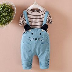 1c92c5f0553 Blue Mouse Overalls   Shirt 2 Piece for 6 - 24 months. lil giggles baby  supply. Baby Girl NewbornToddler ...