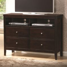 TV Stand with Storage drawers. http://farbelowretail.net/shop/cappuccino-tv-stand/