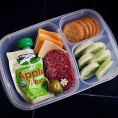 Today lunch is packed in our EasyLunchboxes container: cheese, salami, crackers, cucumbers, a squeeze applesauce and a jumbo olive. Lunch To Go, Lunch Meal Prep, Healthy Meal Prep, Healthy Snacks, Healthy Eating, Healthy Recipes, Lunch Snacks, Lunch Recipes, Baby Food Recipes
