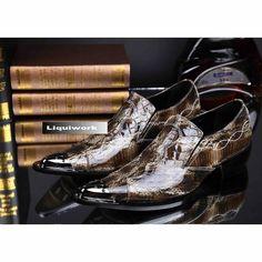 Designer Men Brown Snakeskin Patent Leather Pointy Fashion Dress Shoes SKU-1100422