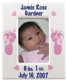 Twinkle Toes Pottery Pink Baby Picture Frame    #Babies