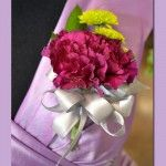 Carnations and Kermit Pin On #Corsage Price:  $18.98 Purple carnations with green kermit poms and ribbon.