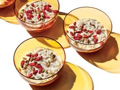 Easy Jasmine Rice Pudding   Treat yourself to a comforting bowl of warm, creamy rice pudding and enjoy a better night's sleep. The goji berries sprinkled on top add fruity chew, while the pepitas offer nutty crunch and a tryptophan boost. Look for both at specialty grocery stores. If you can't find them, sub tart cherries or pomegranates for the goji berries and walnuts for the pepitas; walnuts also contain tryptophan. A mild, less expensive honey works beautifully here; save the pricier…