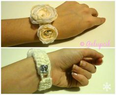 Knitted handmade bracelet with white and cream roses from the Snow Princess collection. Princess Collection, Cream Roses, Handmade Bracelets, Rings For Men, Wedding Rings, Snow, Engagement Rings, Jewelry, Enagement Rings