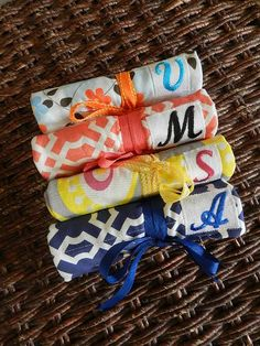 Set of 8 Bridesmaids Gift Idea Organic Fabric Jewelry Roll by CraftyStitches