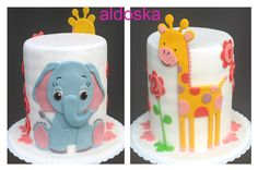 Elephant and giraffe cake - Giraffe inspired by Couture cupcakes & Cookies. Thanks very much!