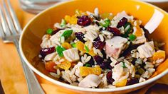 Turkey Apricot Rice Salad-from Too Hot in the Kitchen Cookbook-perfect for holiday leftovers or use Rotesserie chicken year round