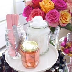 "Top 10 Tips for Organizing Your Vanity--""Glass jars are used to store nail files and clippers, cotton balls, and nail polish remover. With the addition of my new manicure station, I never have to go to the nail salon again!"""