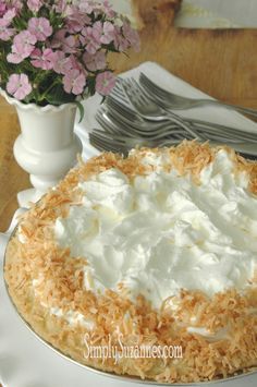 Simply Suzanne's AT HOME: triple coconut cream pie with roasted coconut and rum whipped cream