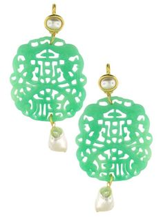 NEW CARVED JADE EARRINGS SKU: 120-53547 $75.00 Yellow Gold Plated Carved Jade and Faux Pearl jennifer miller 2013Pierced Earrings 3 3/4L x 2W Add Items to Bag Qty:  TELL A FRIEND Add to Wishlist