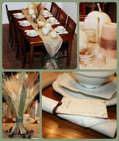 Thanksgiving tablesetting with white pumpkins